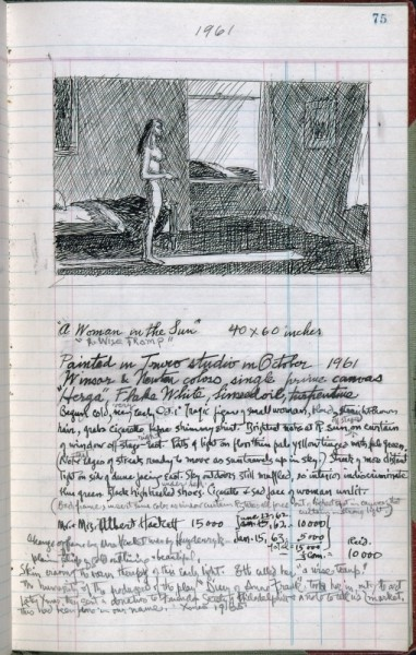Edward Hopper - Woman in the Sun - sketchbook record