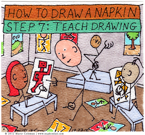 How To Draw a Napkin – Step 7: Teach Drawing