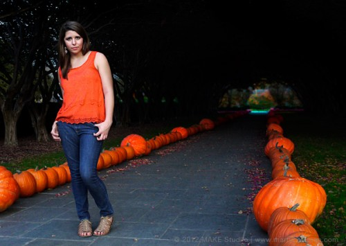 full body portrait with pumpkins