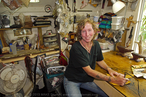 Tracey at Her Work Bench