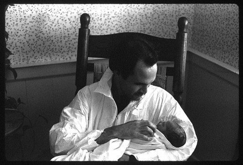 Holding Rebekah right after she was born, 1982.