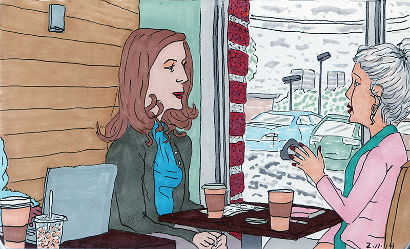 Two women talking at a tulsa starbucks while it snows - color only 2014