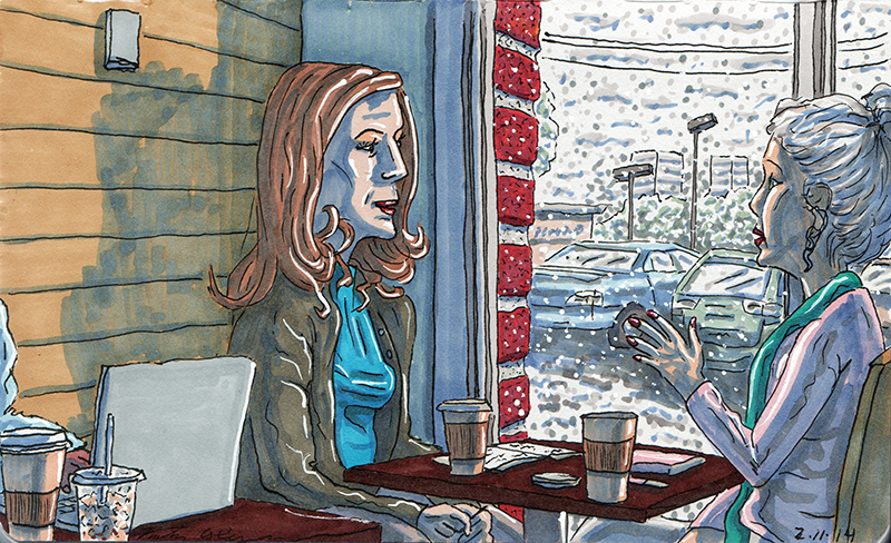 Anatomy of a Drawing – Two Woman at a Tulsa Starbucks While Snow Falls