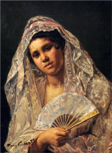SpanishDancerWearingaLaceMantilla-1873
