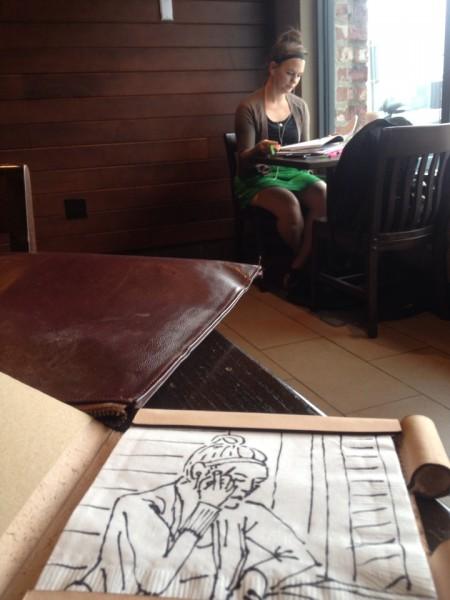 Nissi at Starbucks and sketchbook